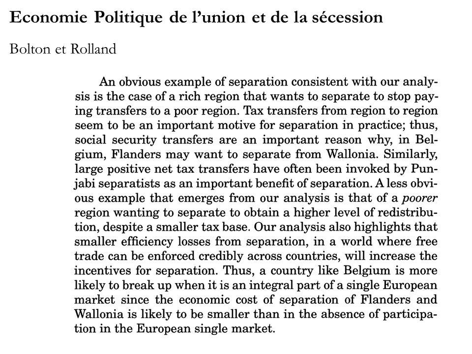 Economie Politique de lunion et de la sécession Bolton et Rolland