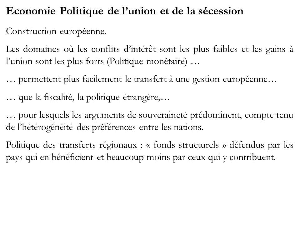 Economie Politique de lunion et de la sécession Construction européenne. Les domaines où les conflits dintérêt sont les plus faibles et les gains à lu