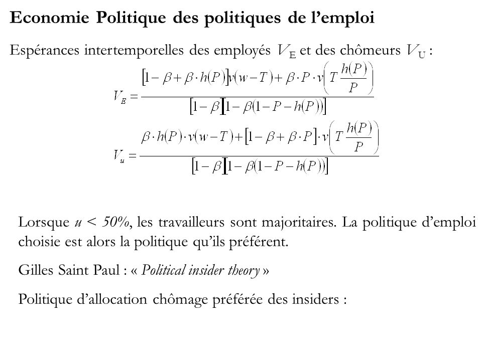 Economie Politique des politiques de lemploi Espérances intertemporelles des employés V E et des chômeurs V U : Lorsque u < 50%, les travailleurs sont majoritaires.