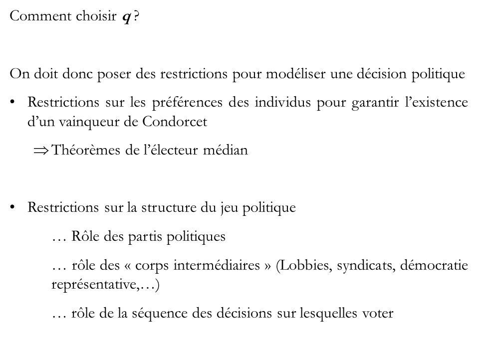 Comment choisir q ? On doit donc poser des restrictions pour modéliser une décision politique Restrictions sur les préférences des individus pour gara