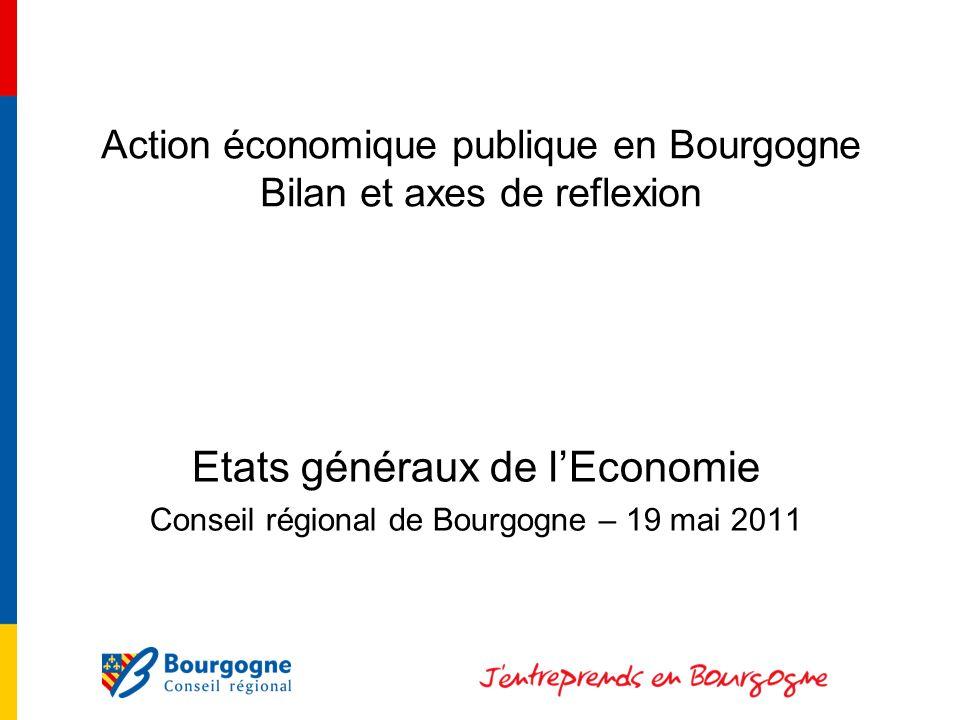 Action économique publique en Bourgogne Bilan et axes de reflexion Etats généraux de lEconomie Conseil régional de Bourgogne – 19 mai 2011