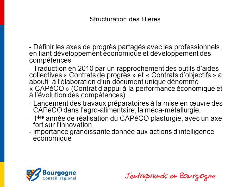Structuration des filières - Définir les axes de progrès partagés avec les professionnels, en liant développement économique et développement des compétences - Traduction en 2010 par un rapprochement des outils daides collectives « Contrats de progrès » et « Contrats dobjectifs » a abouti à lélaboration dun document unique dénommé « CAPéCO » (Contrat dappui à la performance économique et à lévolution des compétences) - Lancement des travaux préparatoires à la mise en œuvre des CAPéCO dans lagro-alimentaire, la méca-métallurgie, - 1 ère année de réalisation du CAPéCO plasturgie, avec un axe fort sur linnovation, - importance grandissante donnée aux actions dintelligence économique
