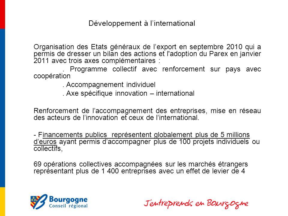 Développement à linternational Organisation des Etats généraux de lexport en septembre 2010 qui a permis de dresser un bilan des actions et l adoption du Parex en janvier 2011 avec trois axes complémentaires :.