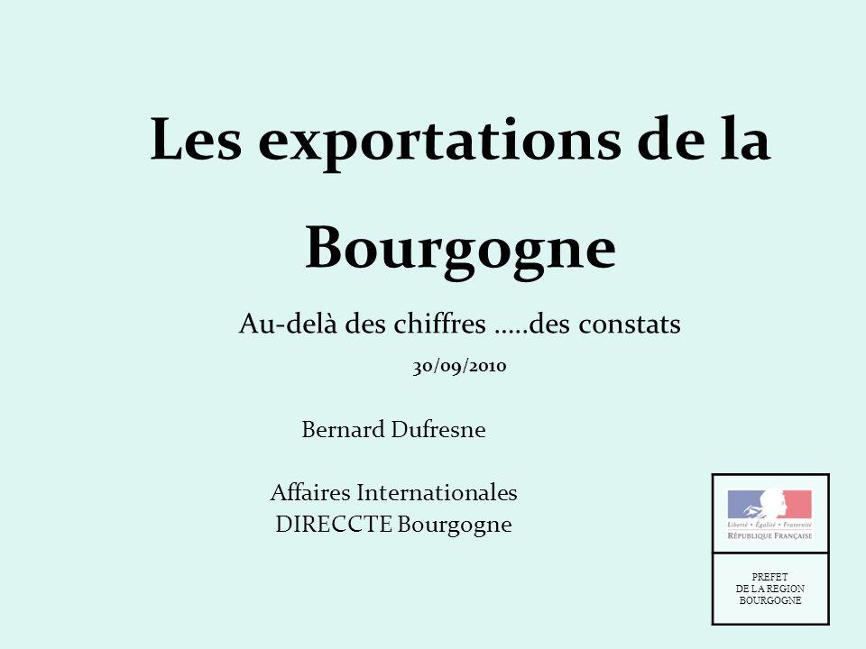 Les exportations de la Bourgogne Au-delà des chiffres …..des constats 30/09/2010 Bernard Dufresne Affaires Internationales DIRECCTE Bourgogne PREFET D