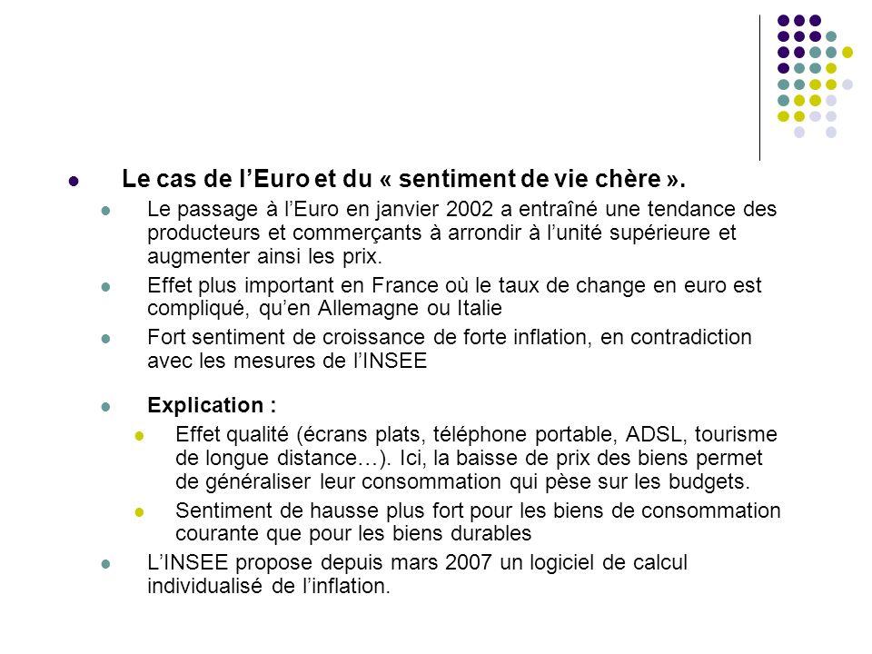 Le cas de lEuro et du « sentiment de vie chère ». Le passage à lEuro en janvier 2002 a entraîné une tendance des producteurs et commerçants à arrondir