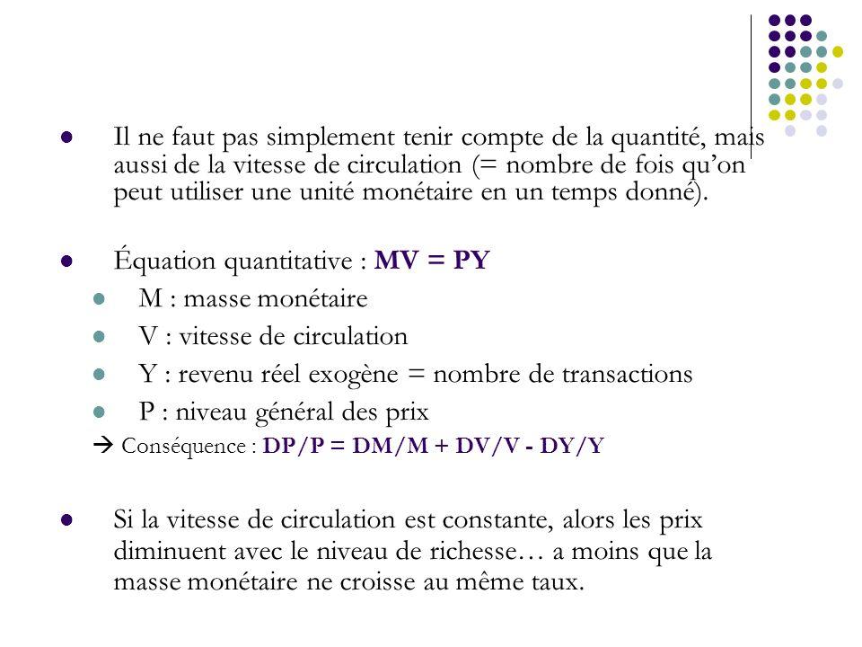Il ne faut pas simplement tenir compte de la quantité, mais aussi de la vitesse de circulation (= nombre de fois quon peut utiliser une unité monétair