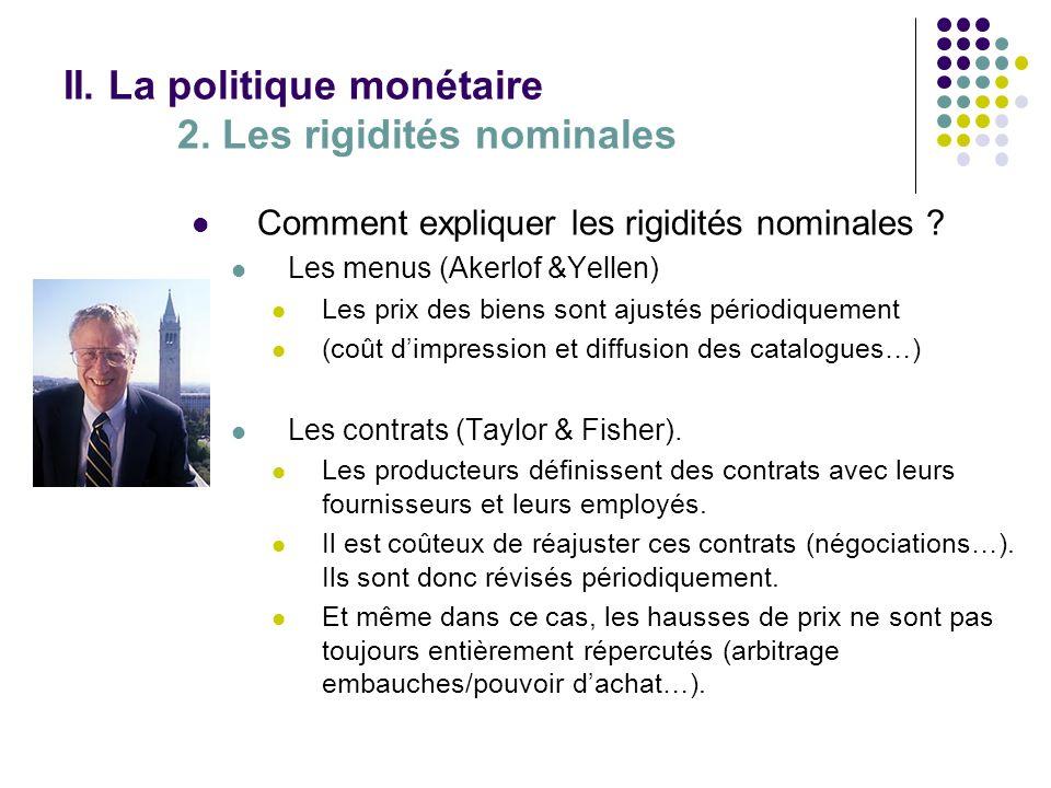 II. La politique monétaire 2. Les rigidités nominales Comment expliquer les rigidités nominales ? Les menus (Akerlof &Yellen) Les prix des biens sont