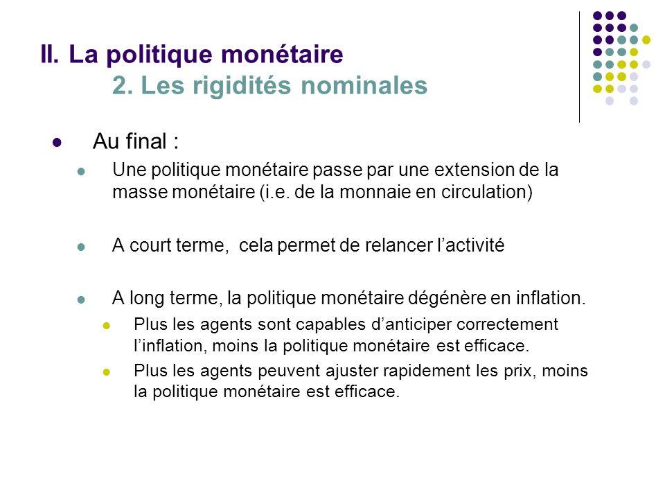 II. La politique monétaire 2. Les rigidités nominales Au final : Une politique monétaire passe par une extension de la masse monétaire (i.e. de la mon