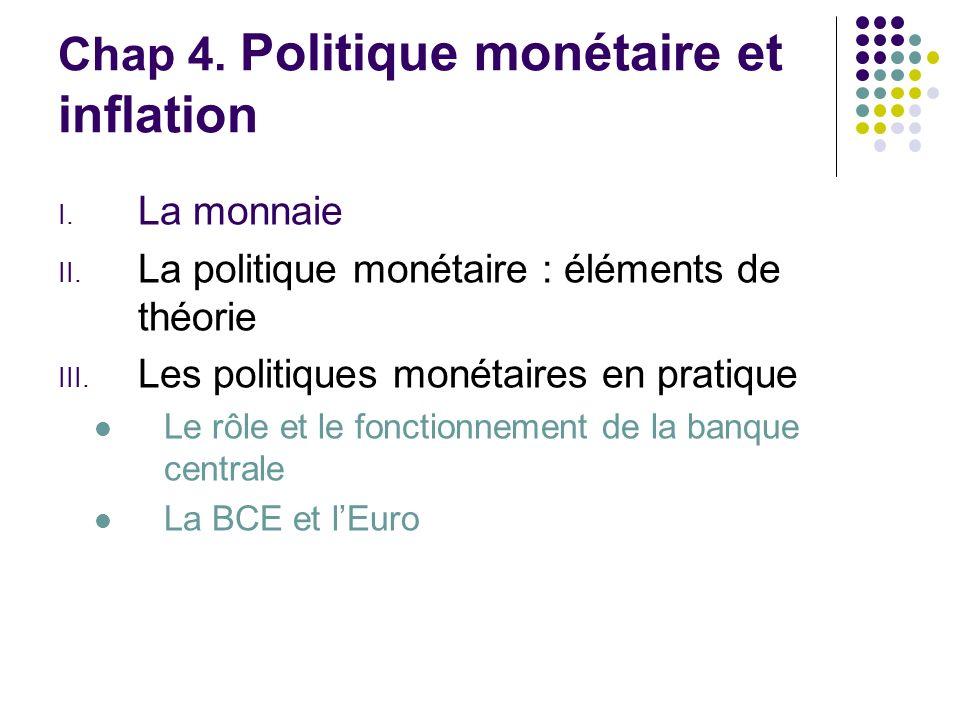 Chap 4. Politique monétaire et inflation I. La monnaie II. La politique monétaire : éléments de théorie III. Les politiques monétaires en pratique Le