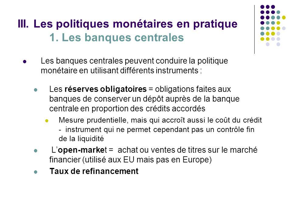 III. Les politiques monétaires en pratique 1. Les banques centrales Les banques centrales peuvent conduire la politique monétaire en utilisant différe