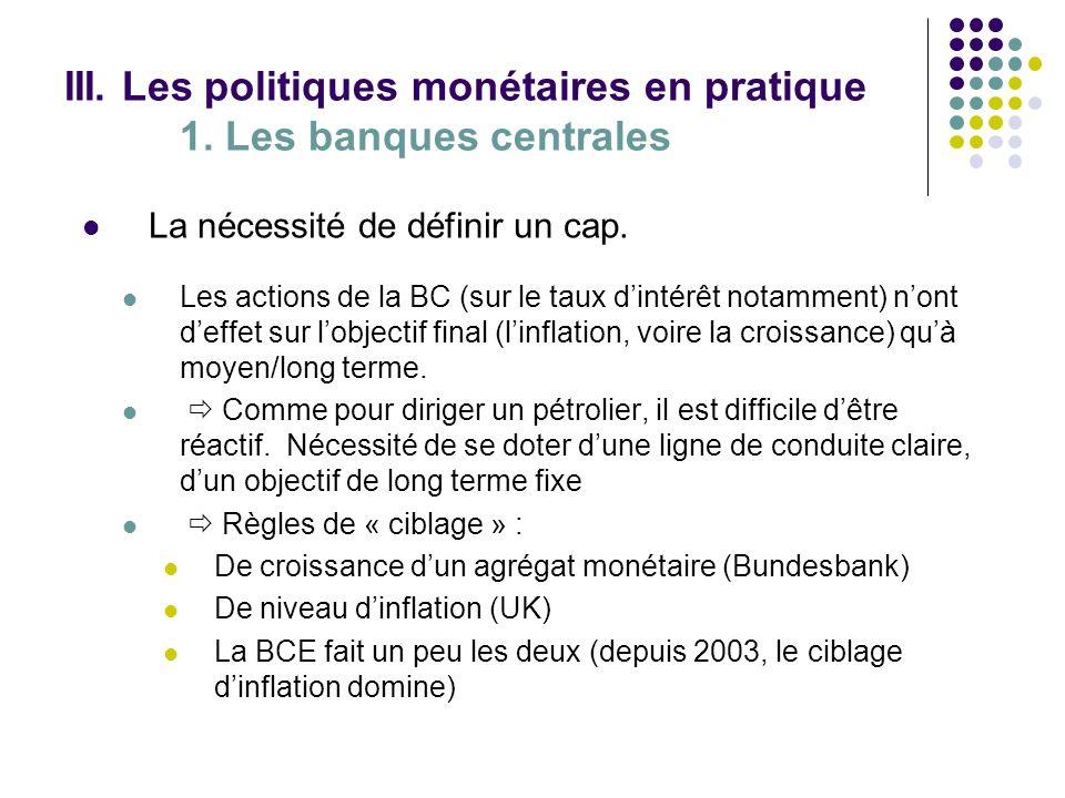 III. Les politiques monétaires en pratique 1. Les banques centrales La nécessité de définir un cap. Les actions de la BC (sur le taux dintérêt notamme