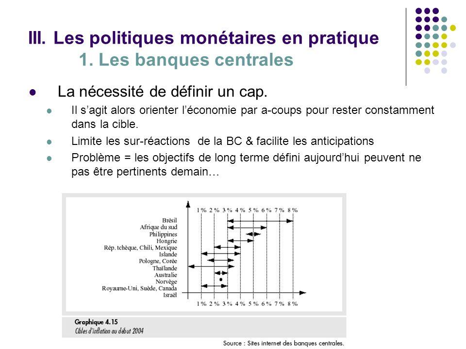 III. Les politiques monétaires en pratique 1. Les banques centrales La nécessité de définir un cap. Il sagit alors orienter léconomie par a-coups pour