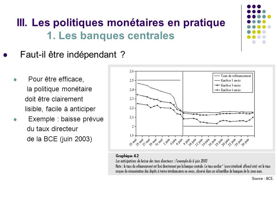 III. Les politiques monétaires en pratique 1. Les banques centrales Faut-il être indépendant ? Pour être efficace, la politique monétaire doit être cl