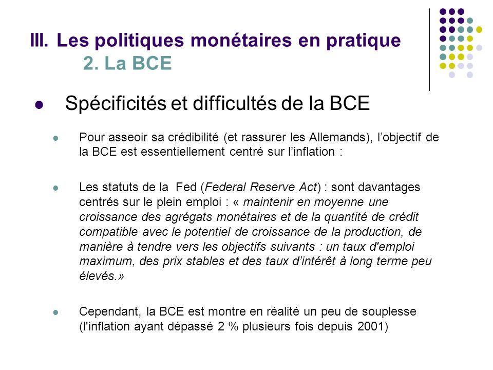 Spécificités et difficultés de la BCE Pour asseoir sa crédibilité (et rassurer les Allemands), lobjectif de la BCE est essentiellement centré sur linf