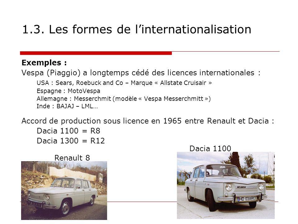 1.3. Les formes de linternationalisation Exemples : Vespa (Piaggio) a longtemps cédé des licences internationales : USA : Sears, Roebuck and Co – Marq