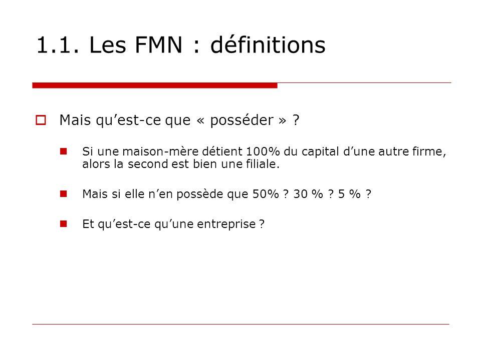 1.1. Les FMN : définitions Mais quest-ce que « posséder » ? Si une maison-mère détient 100% du capital dune autre firme, alors la second est bien une