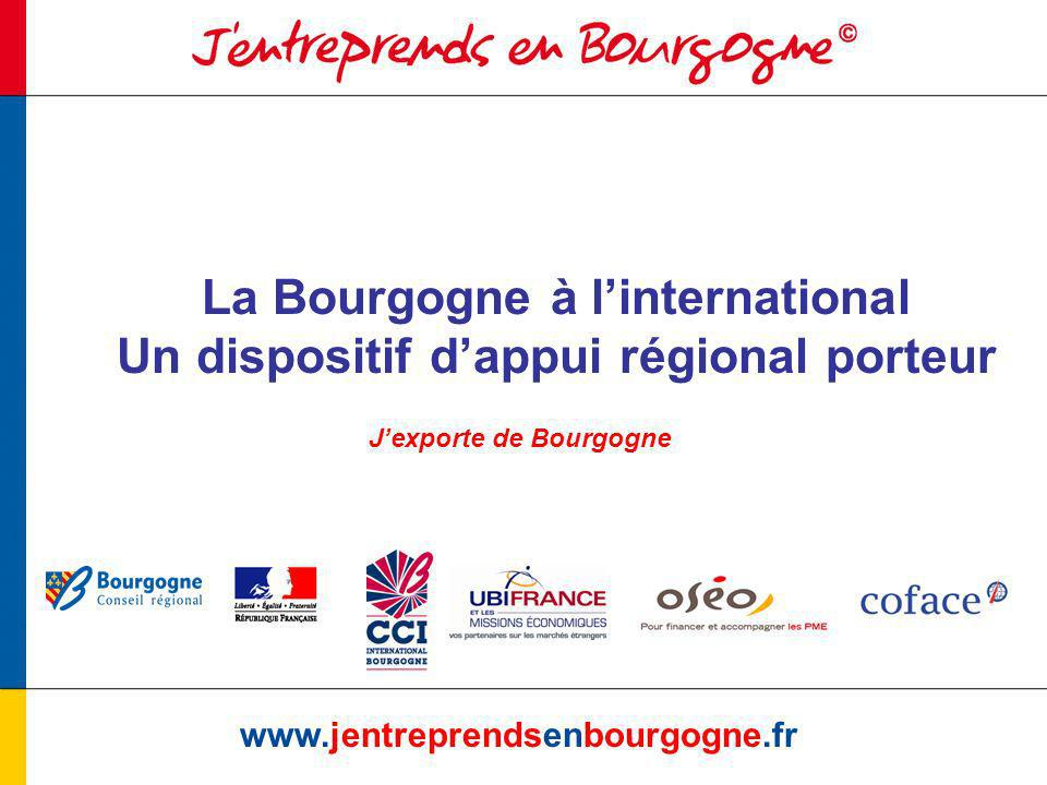 Cadrage www.jentreprendsenbourgogne.fr Linternational : une priorité de lexécutif régional au titre de la stratégie de développement économique (SRDE) Objectif Atteindre 12 milliards à lexport en 2010
