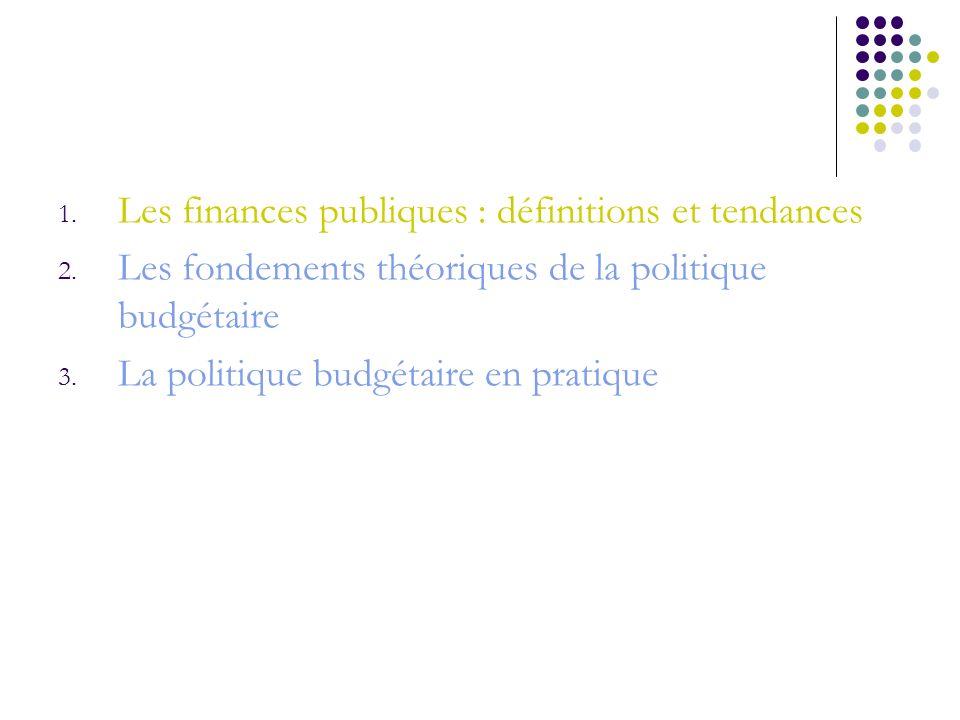 1. Les finances publiques : définitions et tendances 2. Les fondements théoriques de la politique budgétaire 3. La politique budgétaire en pratique