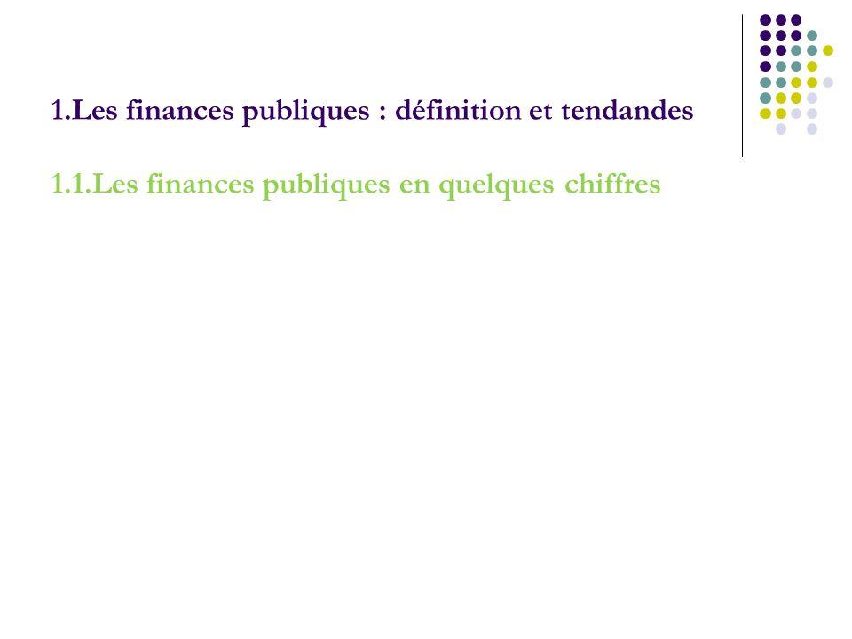 1.Les finances publiques : définition et tendandes 1.1.Les finances publiques en quelques chiffres