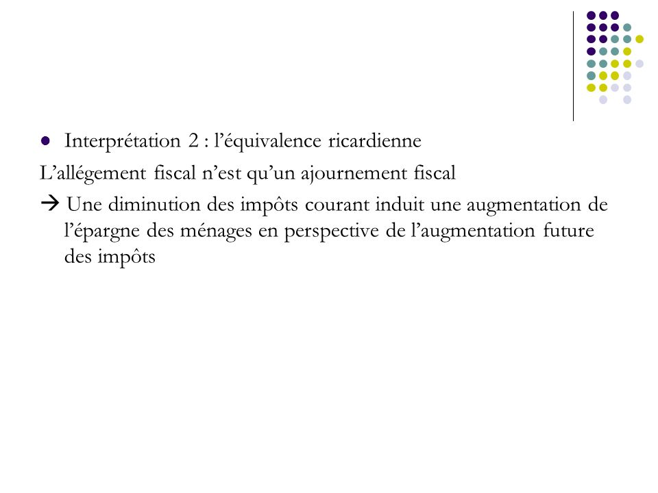 Interprétation 2 : léquivalence ricardienne Lallégement fiscal nest quun ajournement fiscal Une diminution des impôts courant induit une augmentation