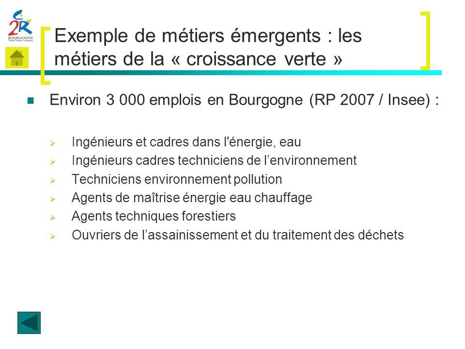 Exemple de métiers émergents : les métiers de la « croissance verte » Environ 3 000 emplois en Bourgogne (RP 2007 / Insee) : Ingénieurs et cadres dans