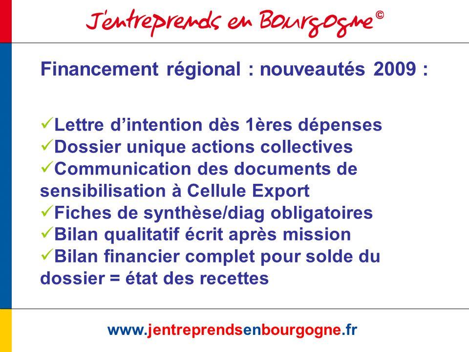 www.jentreprendsenbourgogne.fr Financement régional : nouveautés 2009 : Lettre dintention dès 1ères dépenses Dossier unique actions collectives Commun