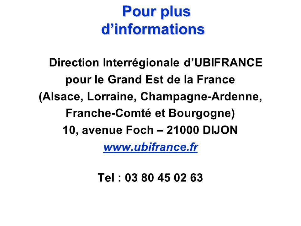 Direction Interrégionale dUBIFRANCE pour le Grand Est de la France (Alsace, Lorraine, Champagne-Ardenne, Franche-Comté et Bourgogne) 10, avenue Foch –
