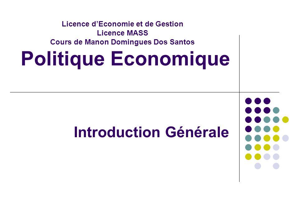 Licence dEconomie et de Gestion Licence MASS Cours de Manon Domingues Dos Santos Politique Economique Introduction Générale
