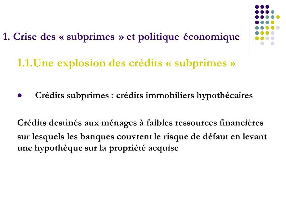 1. Crise des « subprimes » et politique économique 1.1.Une explosion des crédits « subprimes » Crédits subprimes : crédits immobiliers hypothécaires C