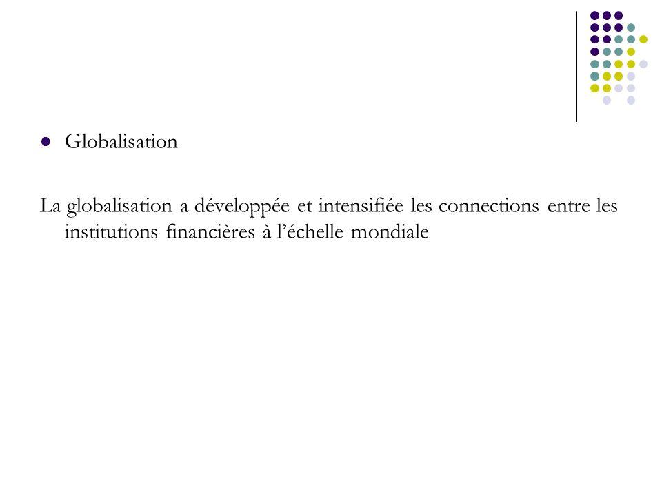 Globalisation La globalisation a développée et intensifiée les connections entre les institutions financières à léchelle mondiale
