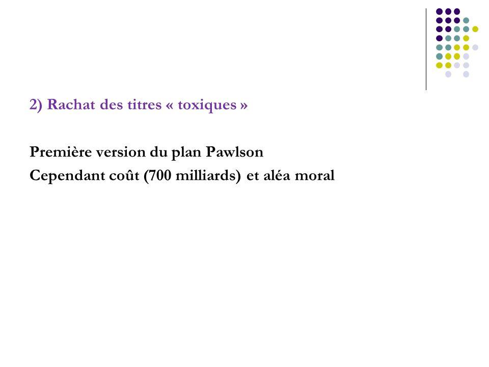 2) Rachat des titres « toxiques » Première version du plan Pawlson Cependant coût (700 milliards) et aléa moral
