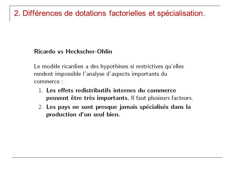 2. Différences de dotations factorielles et spécialisation.