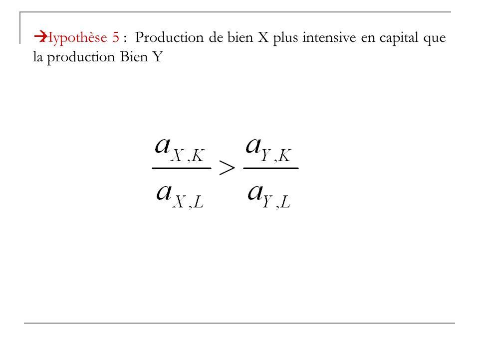 Hypothèse 5 : Production de bien X plus intensive en capital que la production Bien Y