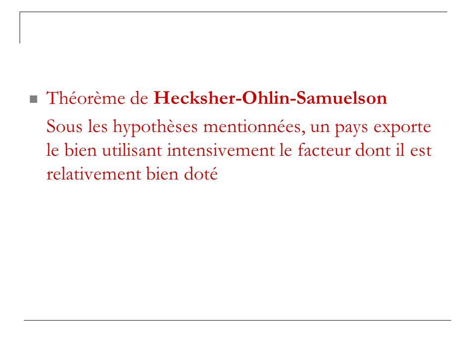 Théorème de Hecksher-Ohlin-Samuelson Sous les hypothèses mentionnées, un pays exporte le bien utilisant intensivement le facteur dont il est relativem