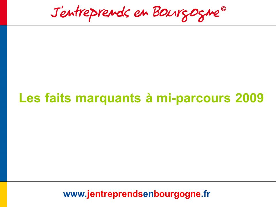Les faits marquants à mi-parcours 2009 www.jentreprendsenbourgogne.fr