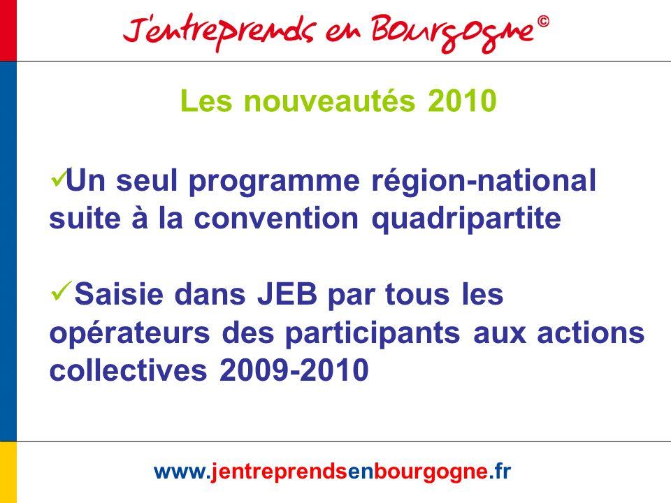 Les nouveautés 2010 www.jentreprendsenbourgogne.fr Un seul programme région-national suite à la convention quadripartite Saisie dans JEB par tous les