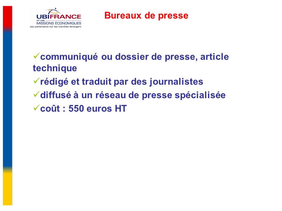 Bureaux de presse communiqué ou dossier de presse, article technique rédigé et traduit par des journalistes diffusé à un réseau de presse spécialisée coût : 550 euros HT