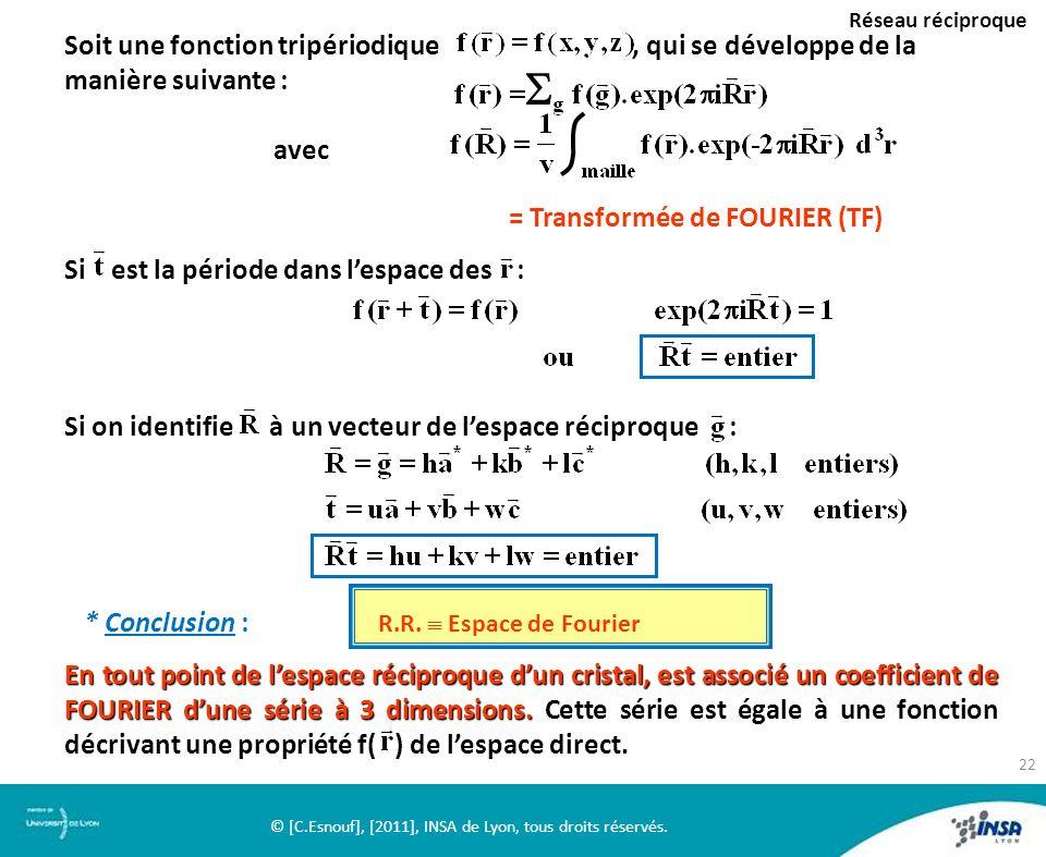 Réseau réciproque Soit une fonction tripériodique, qui se développe de la manière suivante : avec = Transformée de FOURIER (TF) Si est la période dans