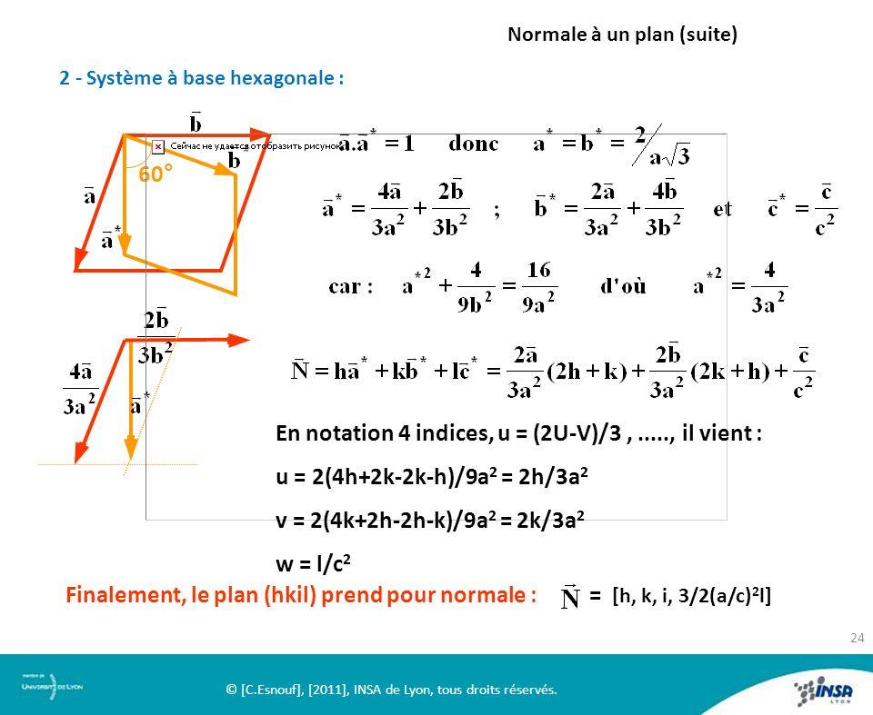 2 - Système à base hexagonale : Normale à un plan (suite) 60° En notation 4 indices, u = (2U-V)/3,....., il vient : u = 2(4h+2k-2k-h)/9a 2 = 2h/3a 2 v