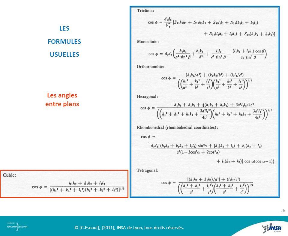 LES FORMULES USUELLES Les angles entre plans © [C.Esnouf], [2011], INSA de Lyon, tous droits réservés. 26