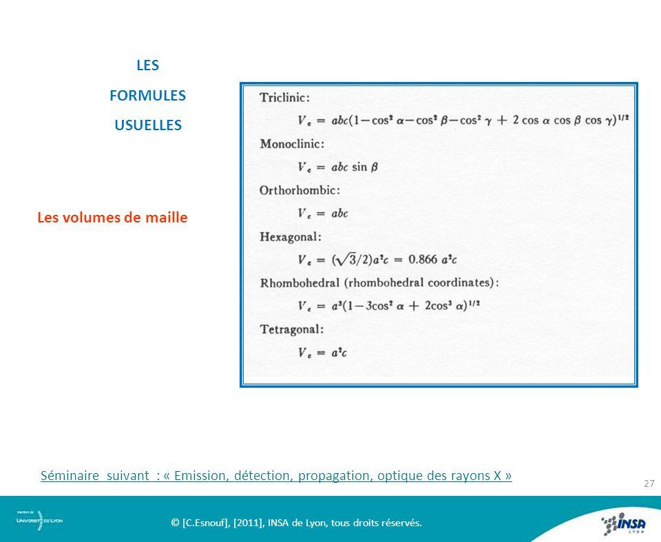 LES FORMULES USUELLES Les volumes de maille © [C.Esnouf], [2011], INSA de Lyon, tous droits réservés. 27 Séminaire suivant : « Emission, détection, pr