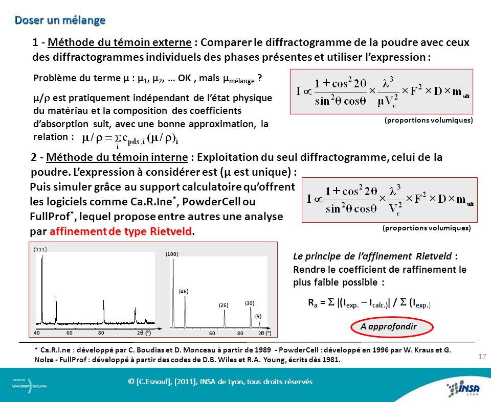 Doser un mélange 1 - Méthode du témoin externe : Comparer le diffractogramme de la poudre avec ceux des diffractogrammes individuels des phases présen