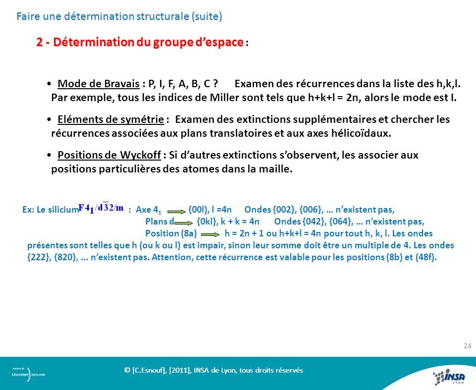 Faire une détermination structurale (suite) 2 - Détermination du groupe despace 2 - Détermination du groupe despace : Mode de Bravais : P, I, F, A, B,