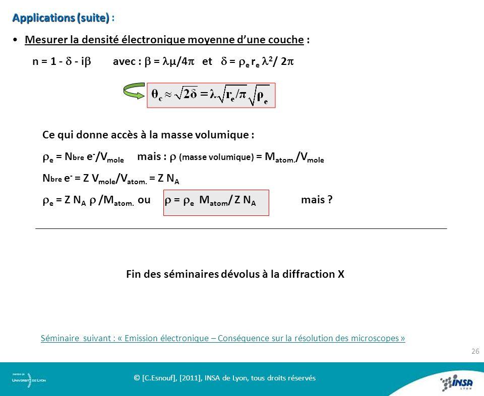 Applications (suite) Applications (suite) : Mesurer la densité électronique moyenne dune couche : n = 1 - - i avec : = µ/4 et = e r e 2 / 2 Fin des sé