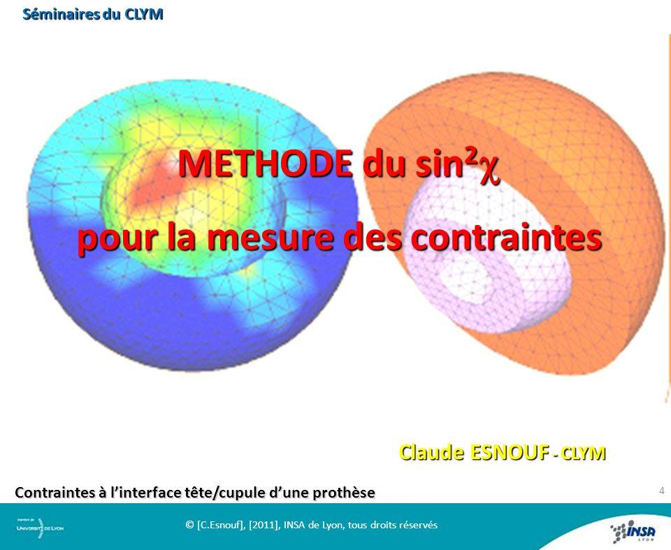 METHODE du sin 2 METHODE du sin 2 pour la mesure des contraintes pour la mesure des contraintes Claude ESNOUF - CLYM Contraintes à linterface tête/cup