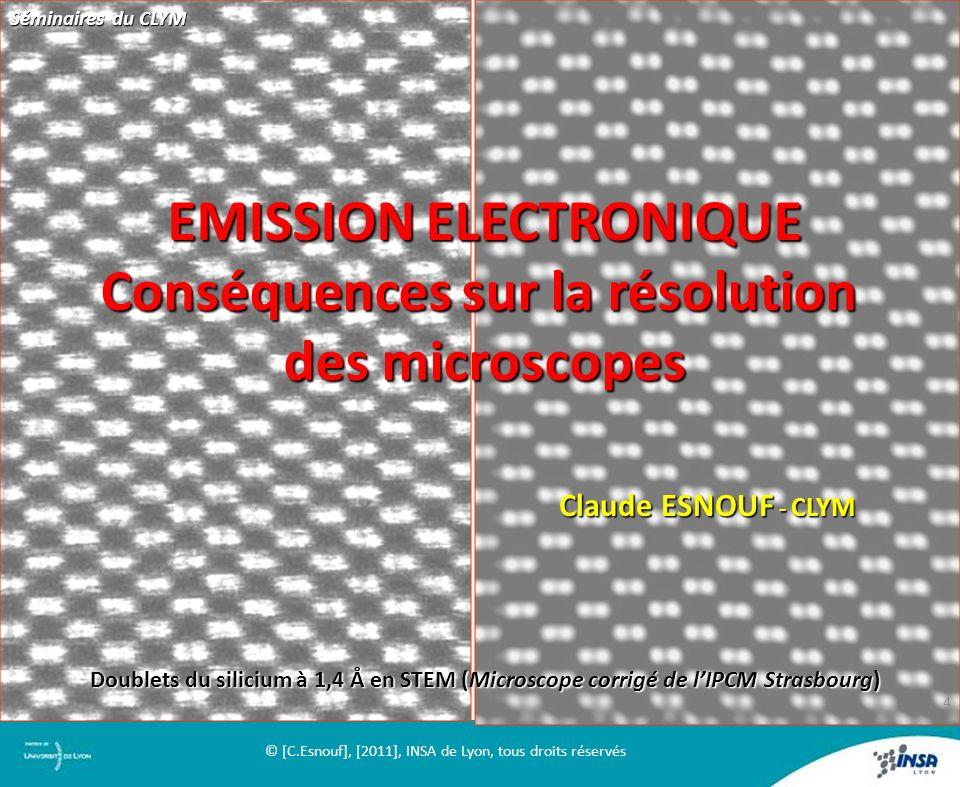 EMISSION ELECTRONIQUE Conséquences sur la résolution des microscopes Claude ESNOUF - CLYM Doublets du silicium à 1,4 Å en STEM (Microscope corrigé de