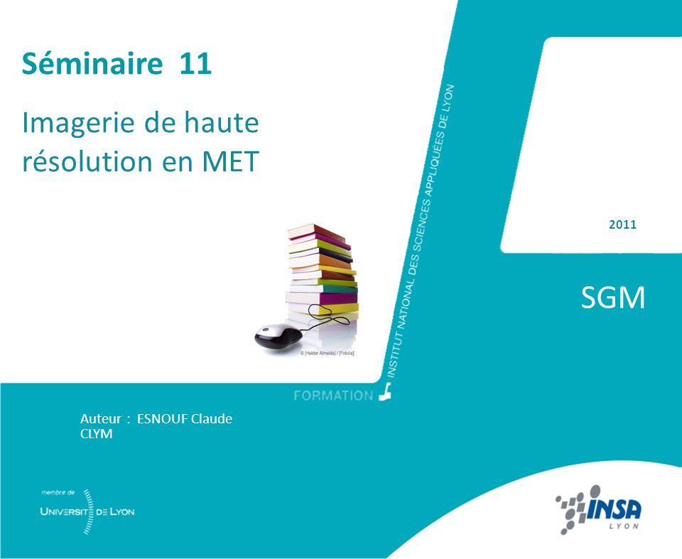 2011 SGM Auteur : ESNOUF Claude CLYM Séminaire 11 Imagerie de haute résolution en MET