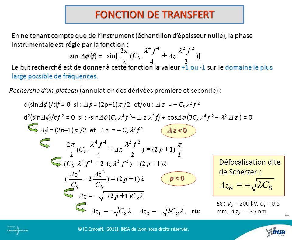 FONCTION DE TRANSFERT En ne tenant compte que de linstrument (échantillon dépaisseur nulle), la phase instrumentale est régie par la fonction : sin (f