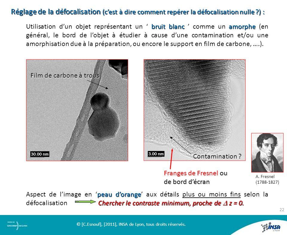 Réglage de la défocalisation (cest à dire comment repérer la défocalisation nulle ?) : Utilisation dun objet représentant un bruit blanc comme un amor