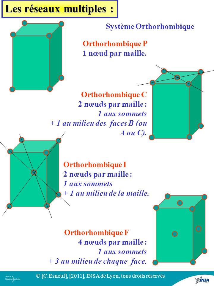 33 Orthorhombique P 1 nœud par maille. Système Orthorhombique Orthorhombique C 2 nœuds par maille : 1 aux sommets + 1 au milieu des faces B (ou A ou C